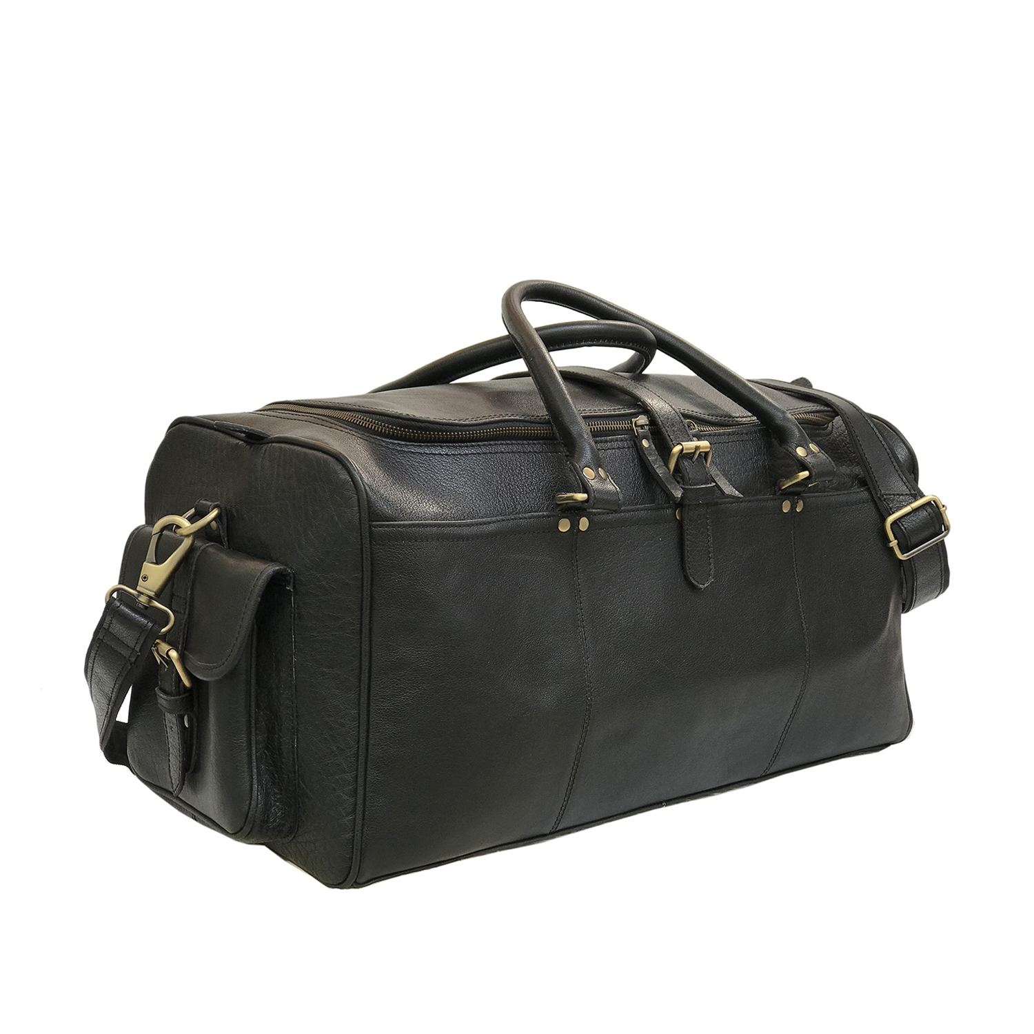 Black Soft Leather Duffle Bag A International