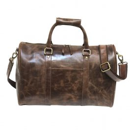 Brown Crazy Horse Leather Gym Bag