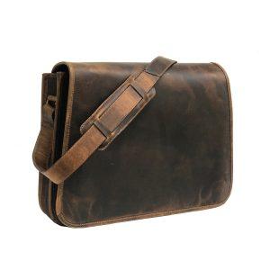 Genuine Brown Hard Wax Messenger Bag