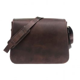Dark Brown Genuine Leather Messenger Bag