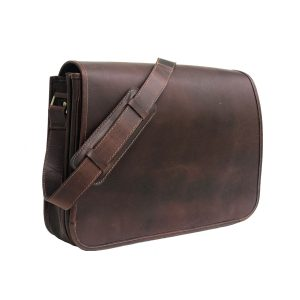 Dark Brown Genuine Leather Messenger Bag