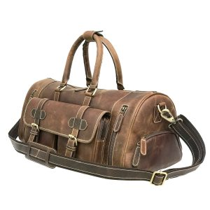 Hunter Brown Leather Weekender Bag With Shoes Compartment