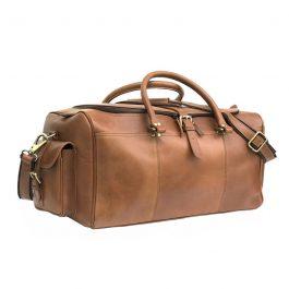 Tan Genuine Leather Weekend Bag
