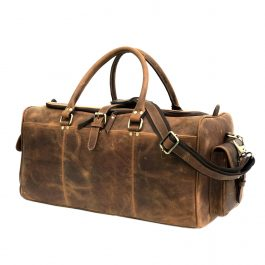 Hunter Brown Genuine Leather Weekend Bag