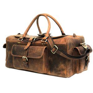 Light Brown 24 inch Leather Weekender Bag