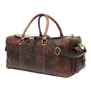 Chocolate Brown Genuine Hunter Leather Weekend Bag