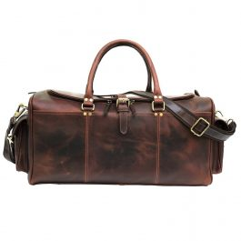 Chocolate Brown Genuine Hunter Leather Weekend Bag