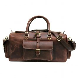 Hunter Dark Brown Genuine Buffalo Leather Weekend Bag