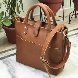 Tan Leather Ladies Tote Bag